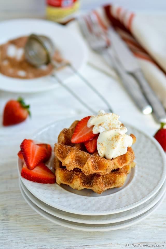 Cinnamon Sugar Churro Waffles Recipe | ChefDeHome.com