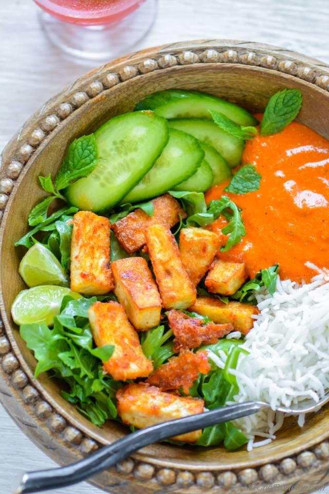 Crispy Garlic Tofu Rice Bowl with Romesco Sauce Recipe | ChefDeHome ...