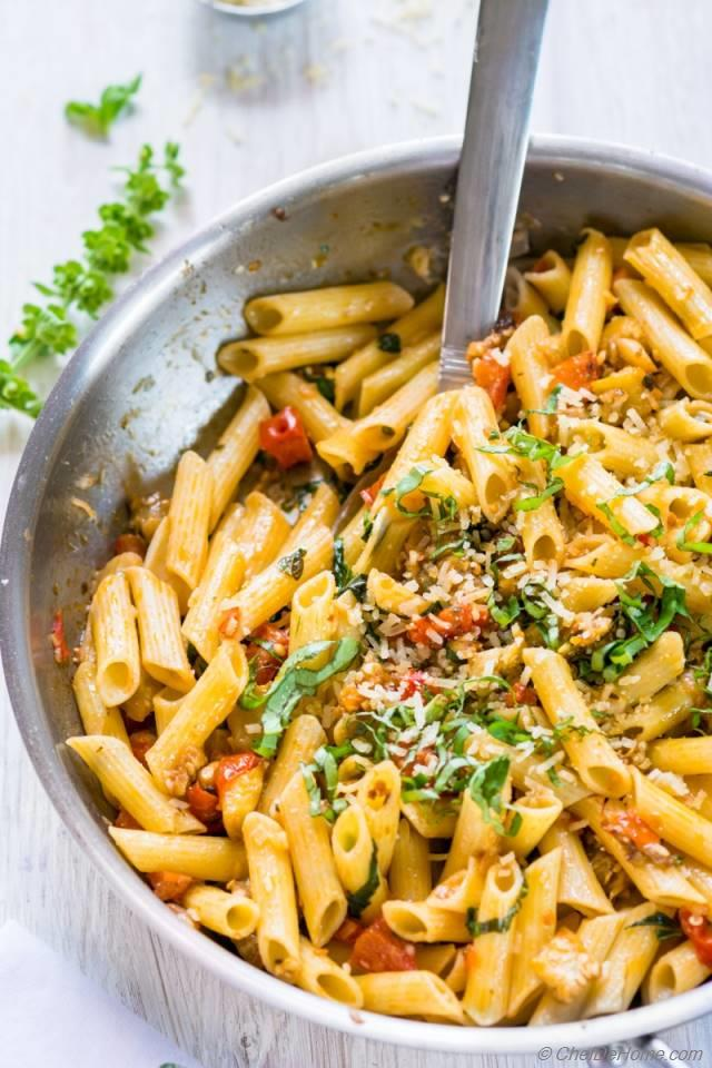 the eggplant again with this roasted eggplant and tomato penne pasta ...