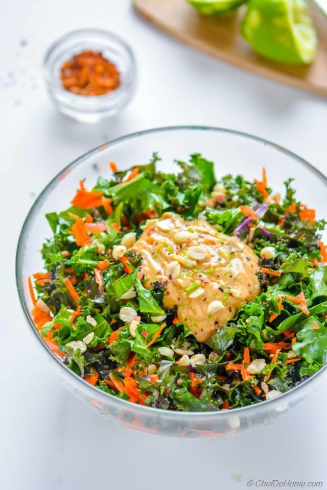 Crunchy kale, carrots and peanuts salad coated in tangy, sweet and ...