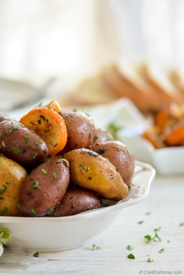 This greek-style Lemon Rainbow Potatoes Recipe is fabulous for serving ...