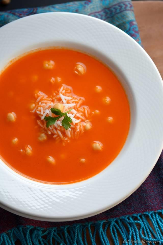 Tomato and Rice Soup with Chickpeas Recipe | ChefDeHome.com