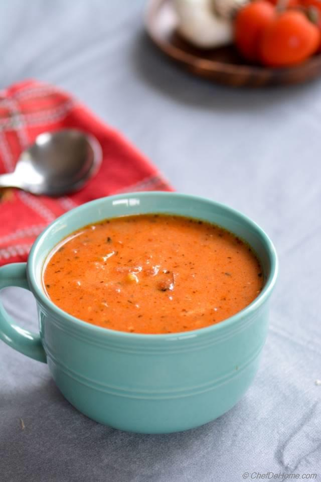 Roasted Garlic and Tomatoes Soup Recipe | ChefDeHome.com