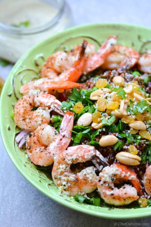 Roasted Shrimp and Quinoa Salad with Ginger-Hemp Dressing ...