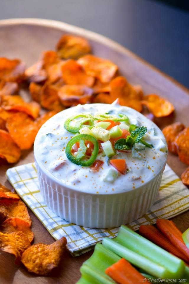 Loaded Raita Dip with Curry Dusted Sweet Potato Chips Recipe ...