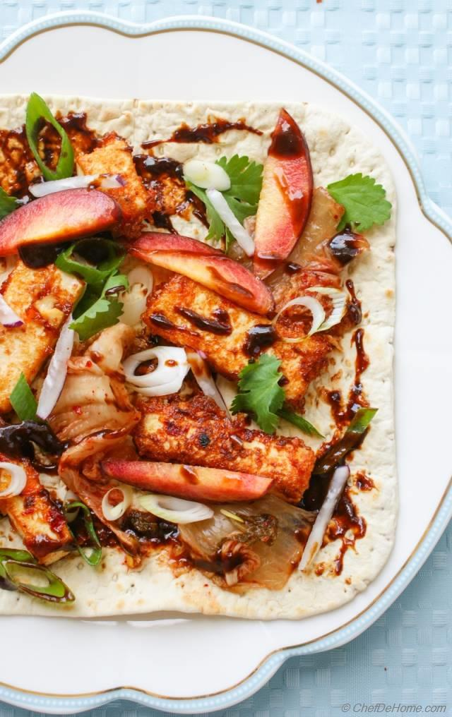 Crunchy Garlic Tofu Wraps with Peach and Kimchi Slaw