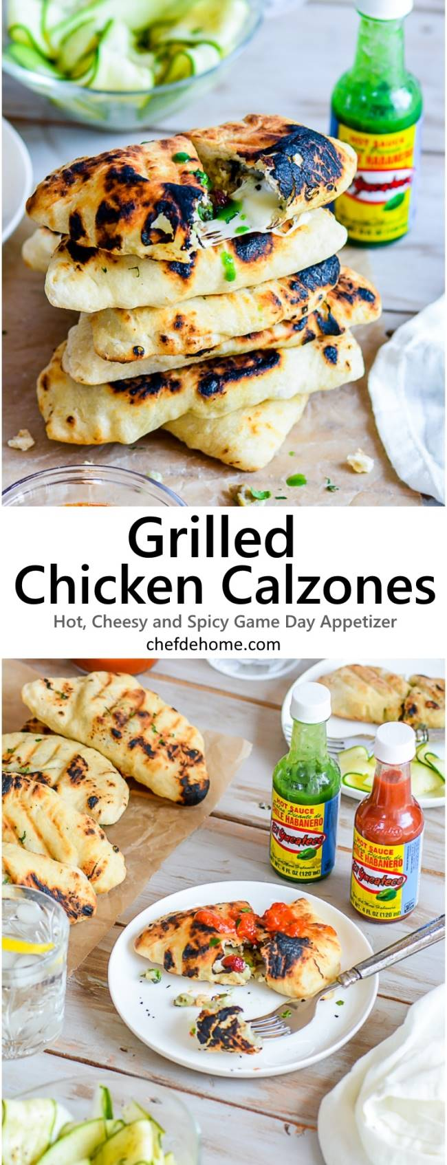 Easy Homemade Grilled Hot Cheesy Chicken Calzones served with Marinara Sauce for hosting Game Day party | chefdehome.com