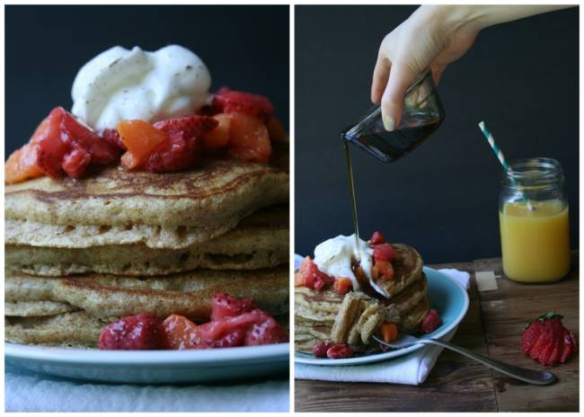 Fluffy Multigrain Pancakes with Strawberry & Peach Compote