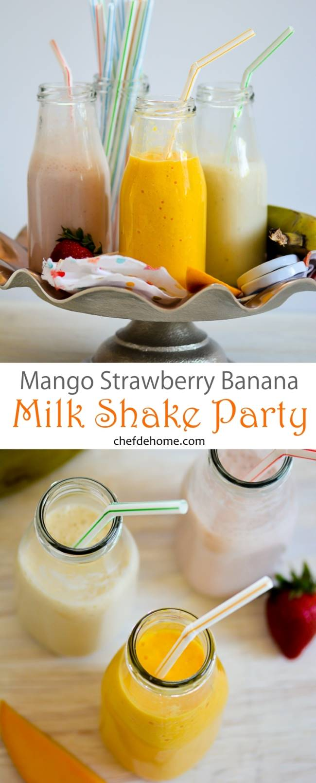 Mango Strawberry Banana Milk SHake for Kids Summer Party - chefdehome.com