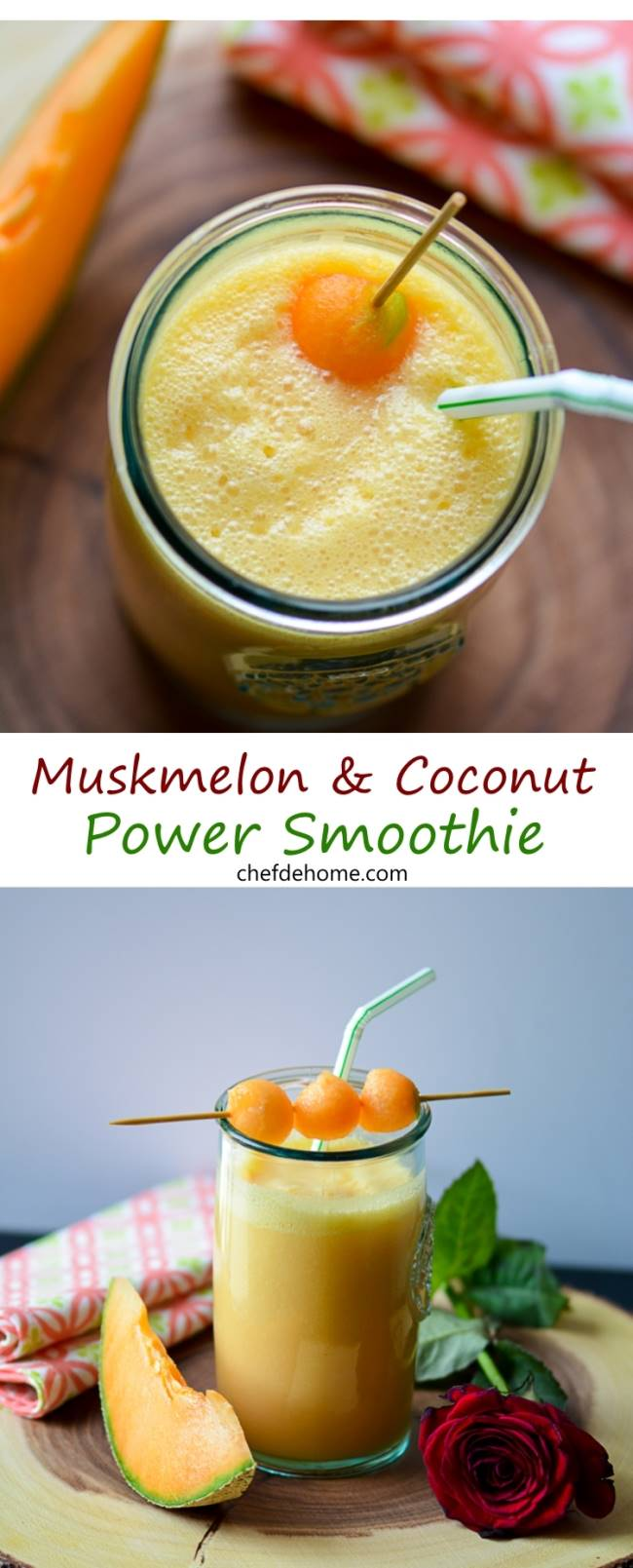 Gluten Free and Vegan Healthy Muskmelon and Coconut Smoothie | chefdehome.com