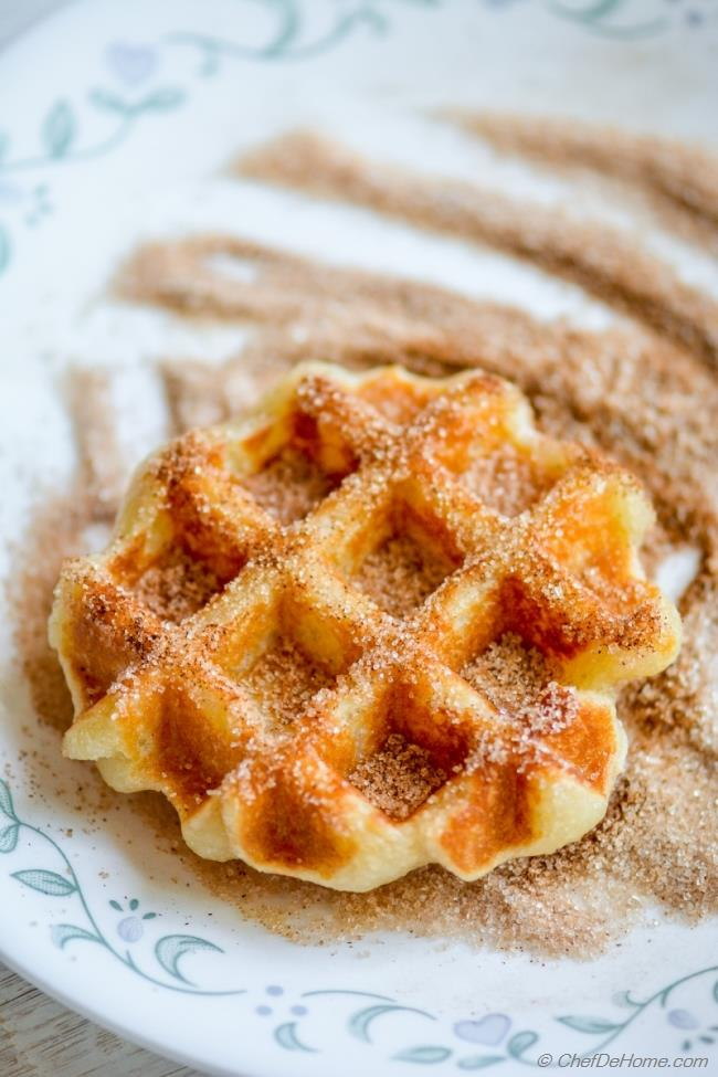Crispy Churro Dough Waffles Coated in Cinnamon Sugar | chefdehome.com