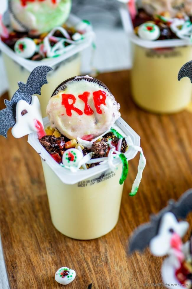 halloween pudding cups chefdehomecom - Pudding Halloween Desserts