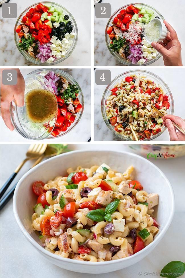 Italian Chicken Pasta Salad Assembly