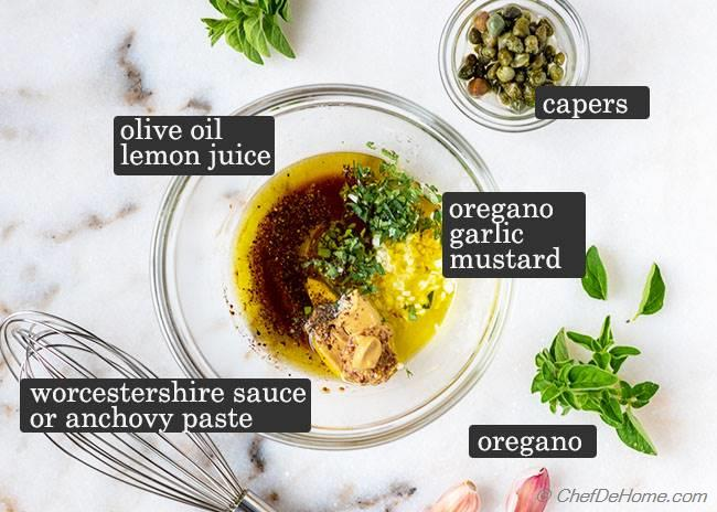 Ingredients for Salmon Nicoise Salad Dressing