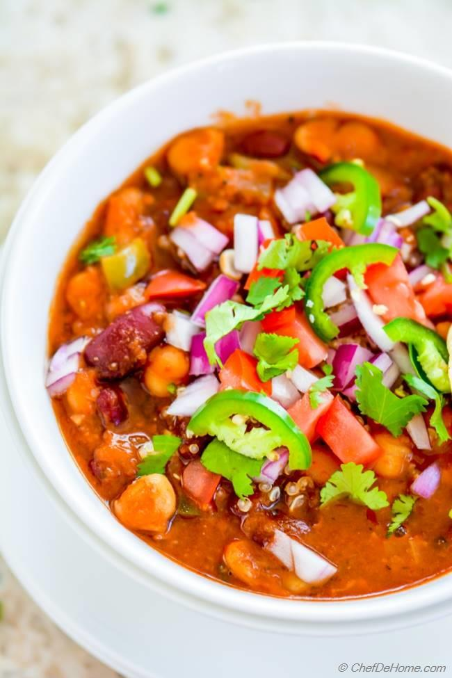 Meatless Monday Dinner with Hearty Vegetarain Three Beans Chili Ready in just 35 minutes and healthy with a tablespoon oil | chefdehome.com