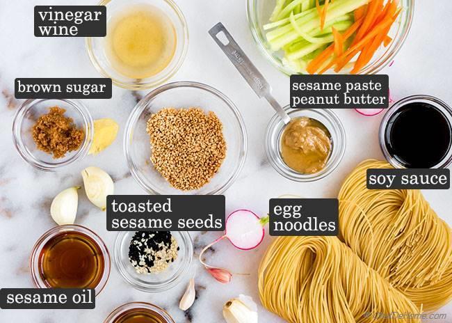 Ingredients for Sesame Noodles