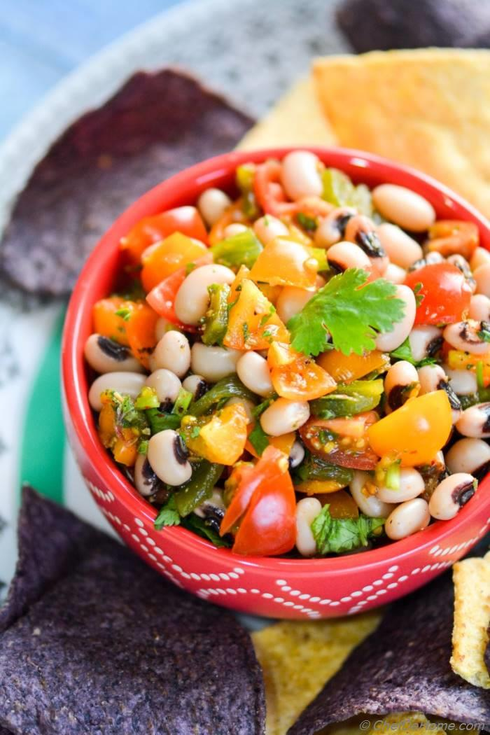 ... , sharing with you a bowl of zesty Black-eyed Peas and Poblano Salsa