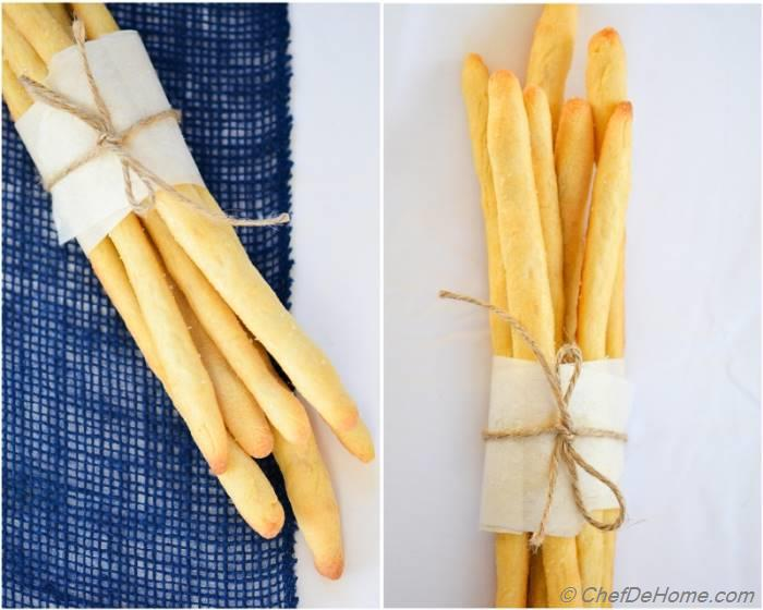 Step by step recipe to make crispy and crusty bread sticks at home! Invited for a dinner party? These bread sticks will look cool as #gift
