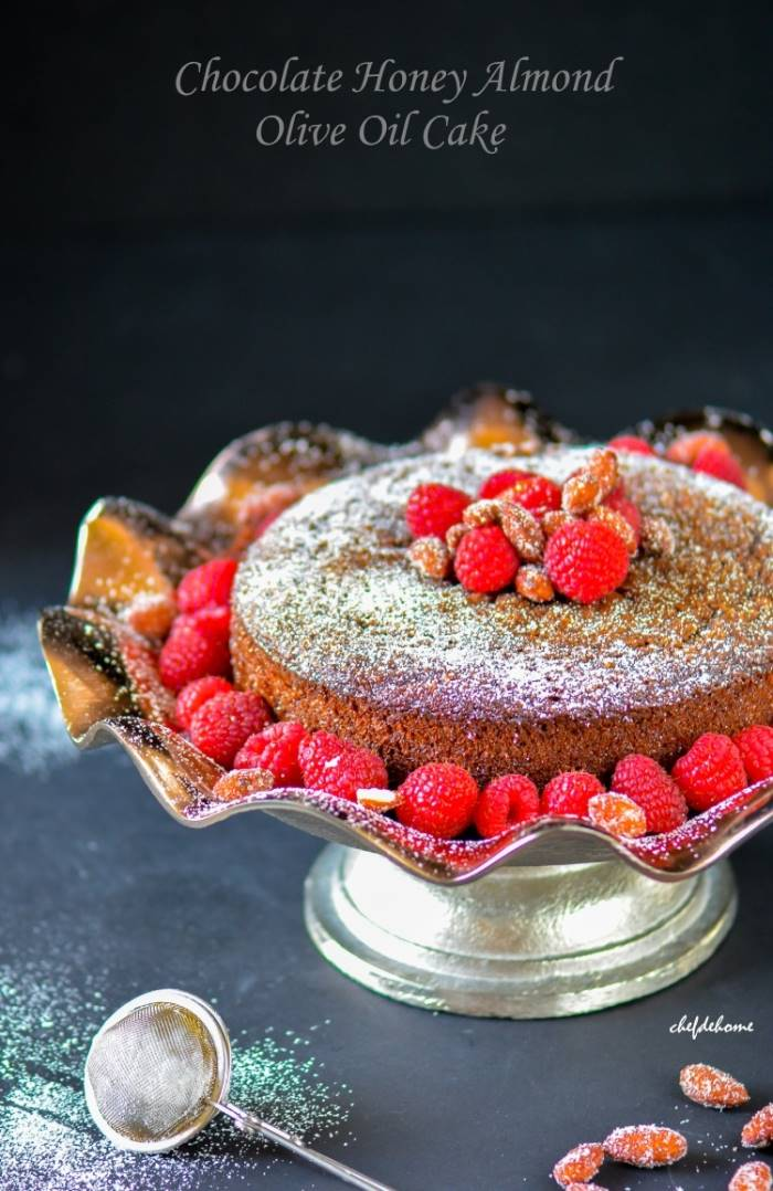 Flourless Gluten free Chocolate Almond Olive Oil Cake with Raspberries and Honey Roasted Almonds | chefdehome.com