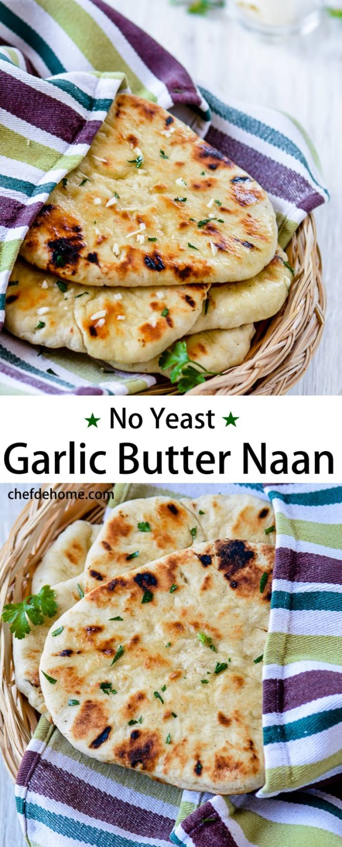 Instant Indian Garlic Naan Bread without yeast for an Easy Indian ...