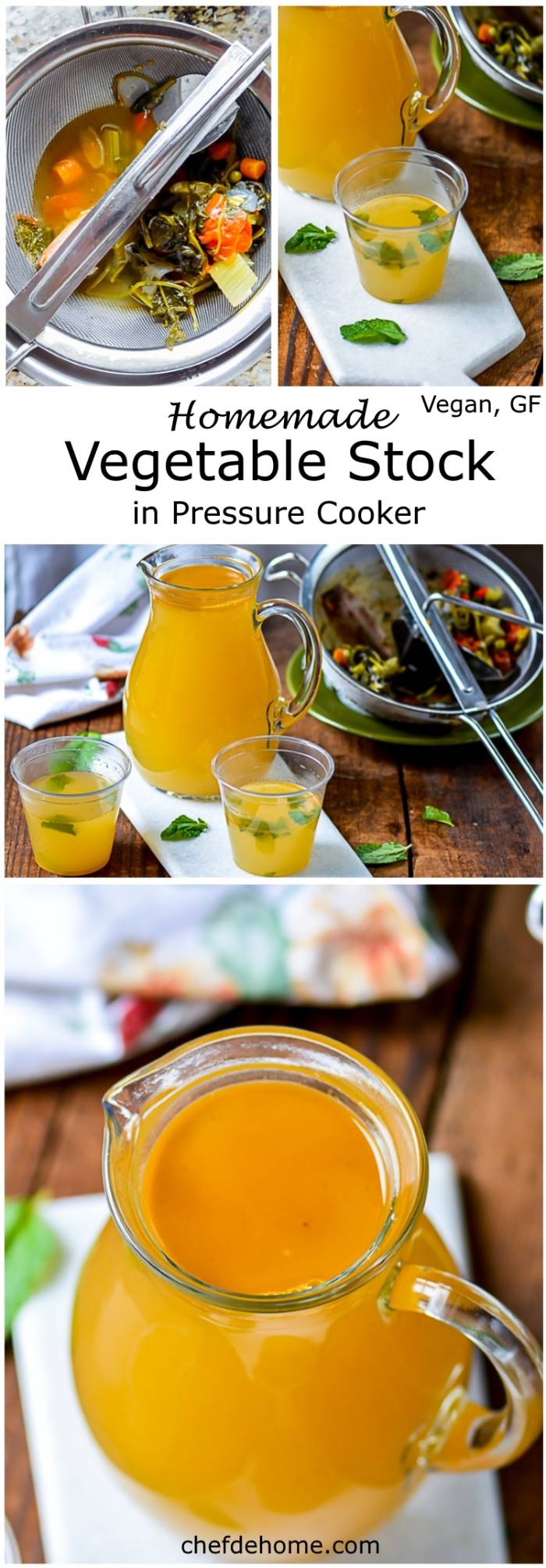 Homemade Vegan Vegetable Stock cooked in just 20 minutes in pressure cooker. Perfect to flavor soup and great health toniic with low sodium and almost negligible fat | chefdehome.com