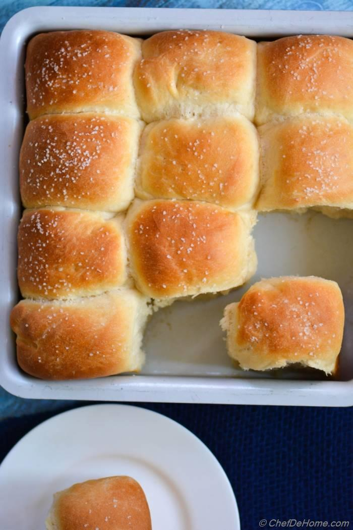 Buttery, rich, american classic Omni Parker House Rolls. These rolls are easy to make and great to dunk-into a hearty soup! Get the recipe at ChefDeHome.com