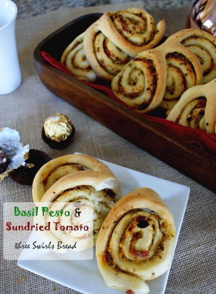 Three Swirls Breakfast Bread Rolls with Basil Pesto and Sun-dried Tomato