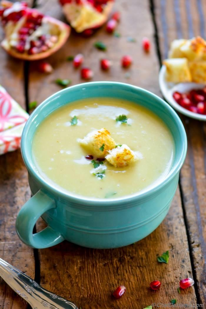 Creamy Potato and Leek Soup Skip Croutons to keep it gluten free and use coconut milk to make it vegan | chefdehome.com