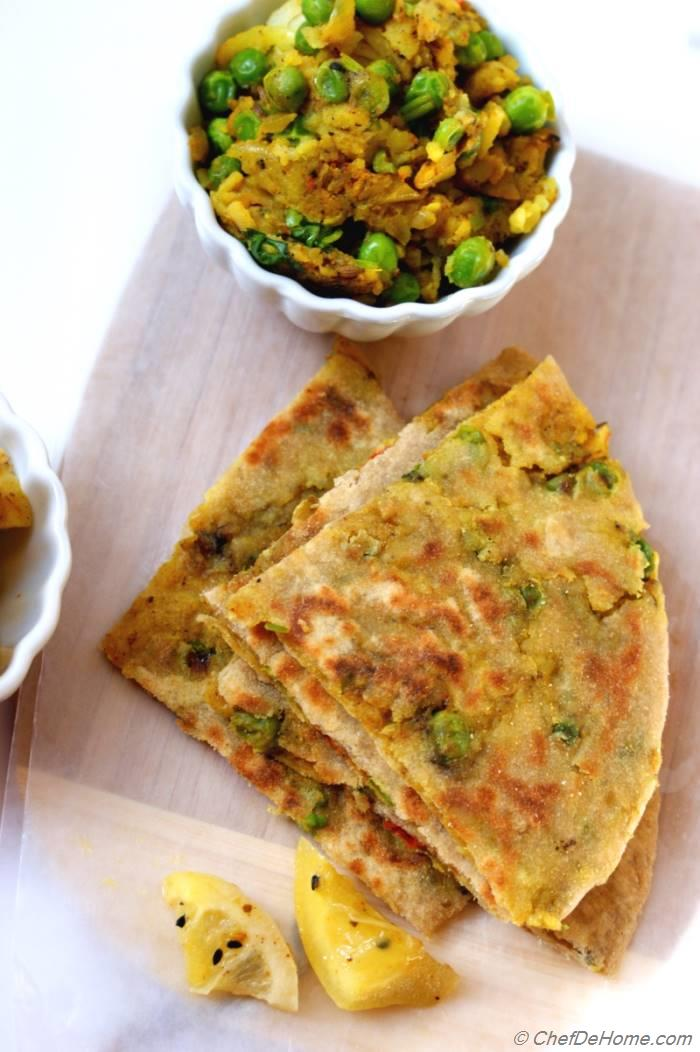 Potato and Pea Stuffed Paratha