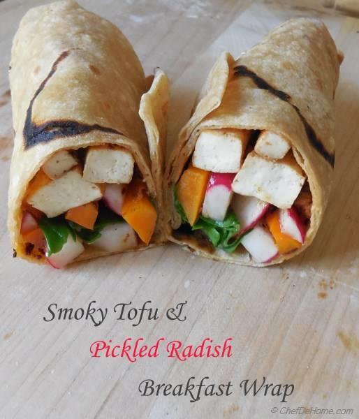 Breakfast Wraps Recipe: Smoky Tofu And Pickled Radish Breakfast Wrap Recipe