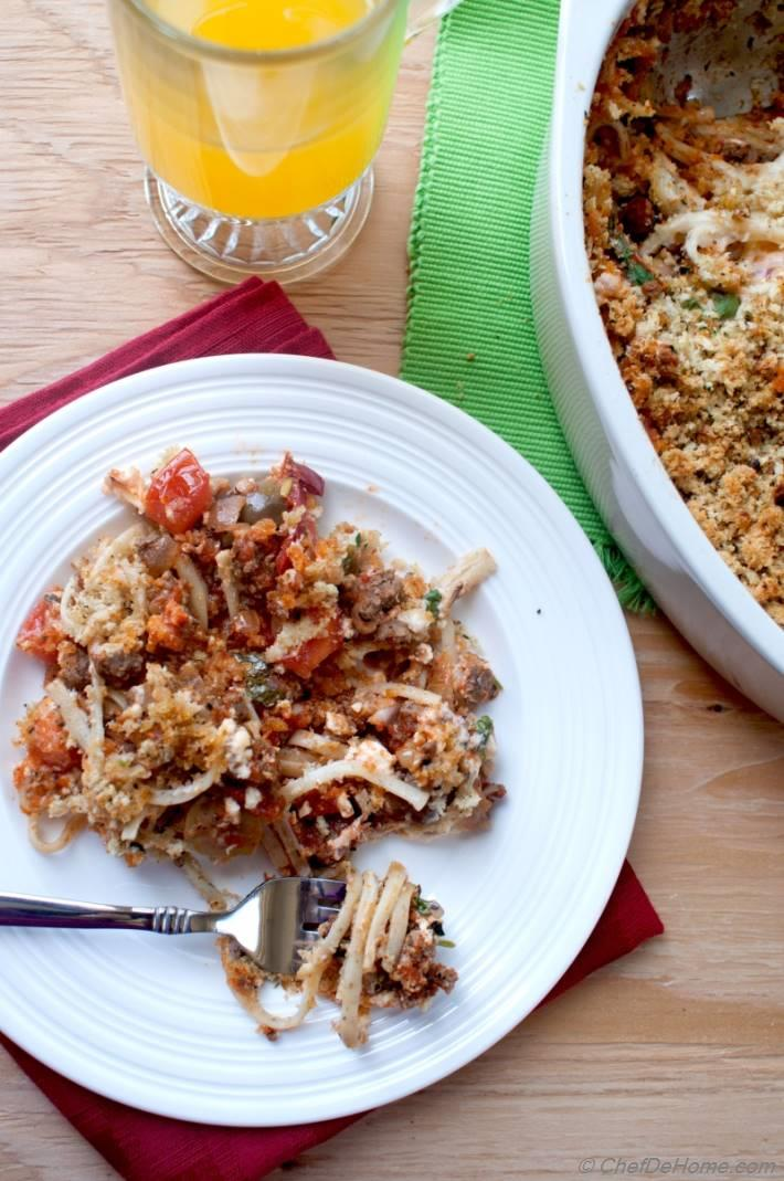 Greek Pastitsio (Baked Pasta) with Lamb and Homemade Béchamel Sauce