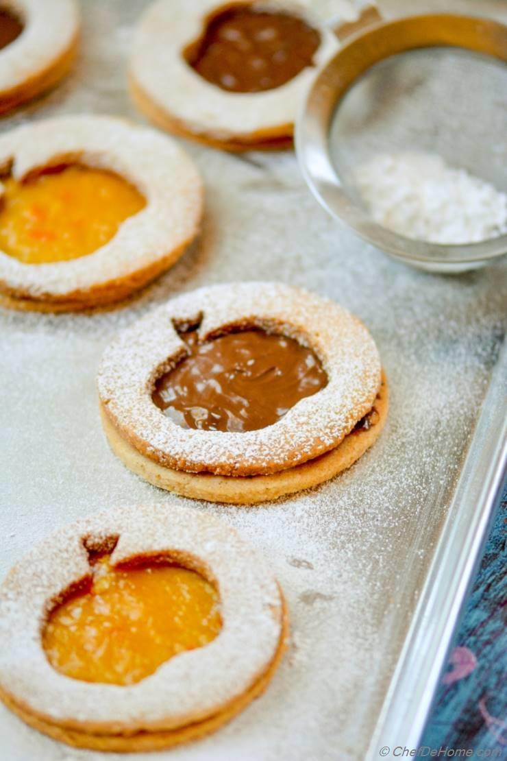 Hazelnut-Almond Big Apple Linzer Cookies