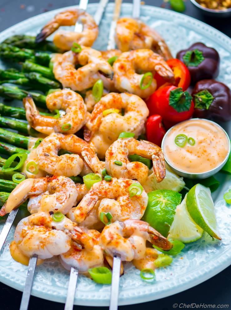 Bang Bang Shrimp Skewers