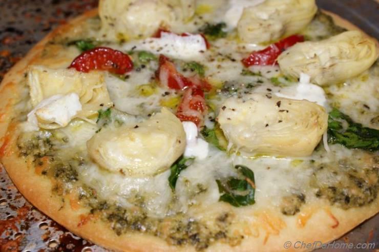 Rustic Spinach, Artichokes and Basil Pesto Pizza