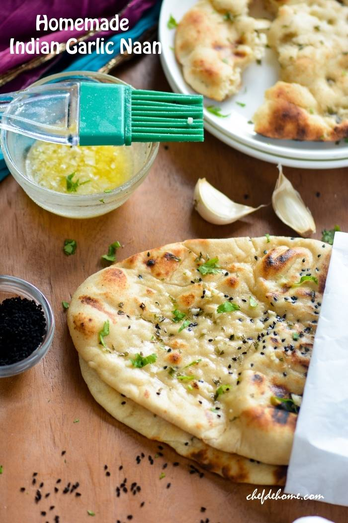 Homemade restaurant style indian garlic naan recipe chefdehome homemade restaurant style indian garlic naan forumfinder Image collections