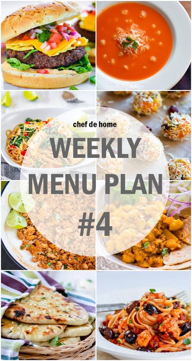 Weekly Meal Menu Plan - 4 (Vegetarian)