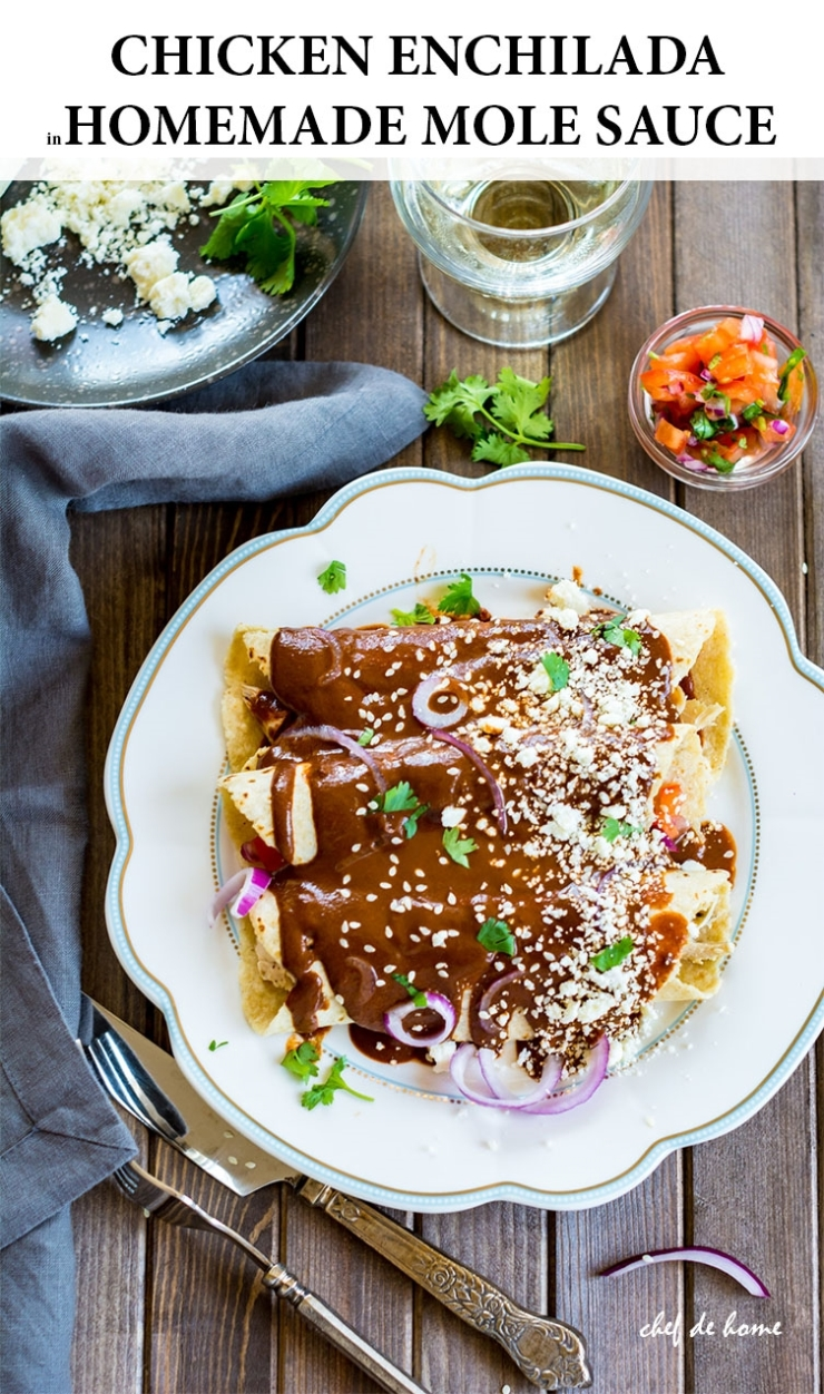 Mole Chicken Enchilada with Homemade Mole Sauce