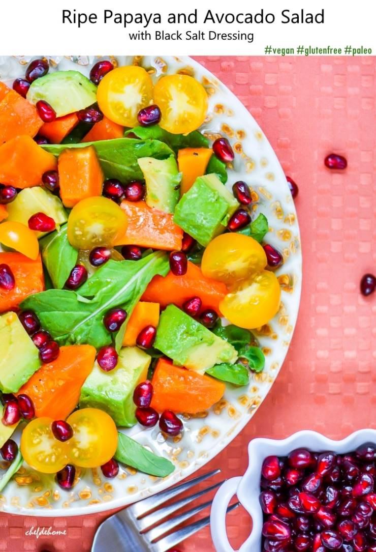 Ripe Papaya and Avocado Salad with Black Salt Dressing