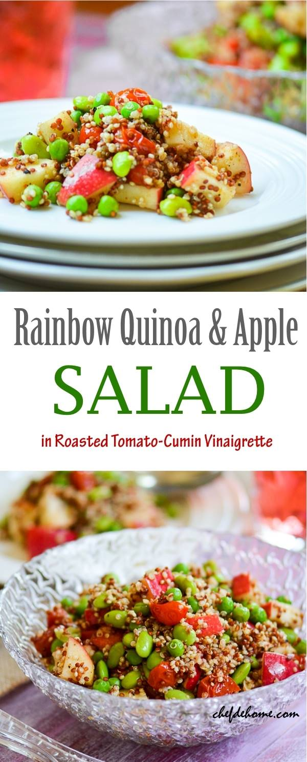 Rainbow Quinoa and Apples Salad with Roasted Tomato-Cumin Vinaigrette