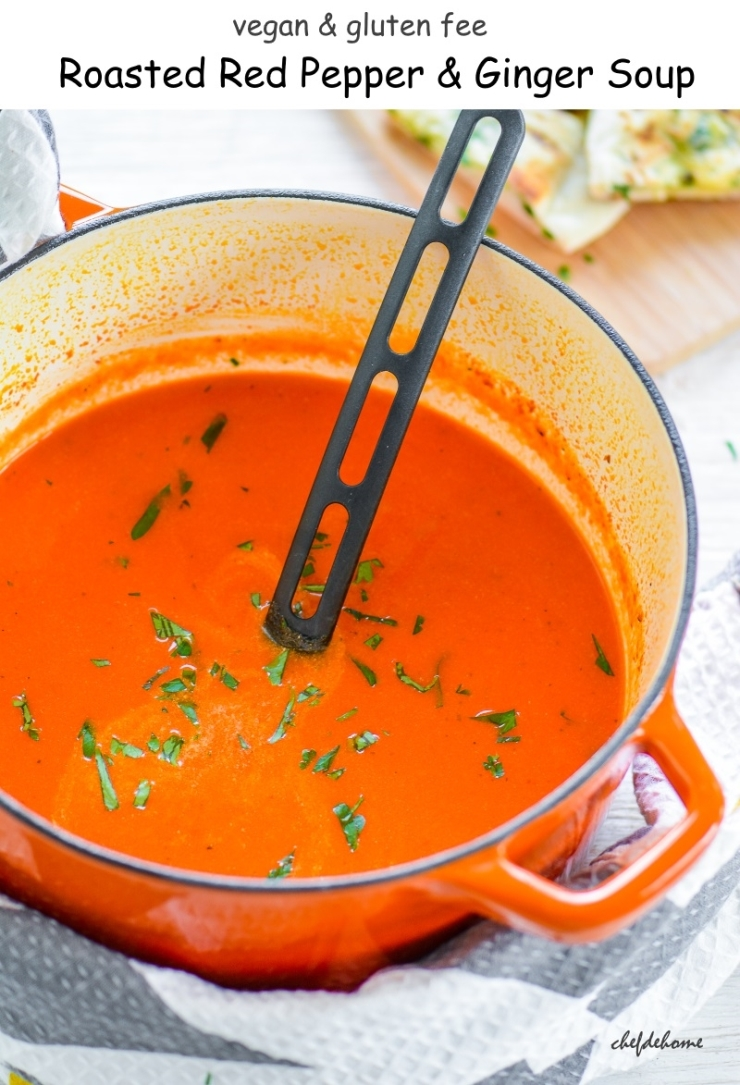 Vegan Roasted Red Pepper and Ginger Soup
