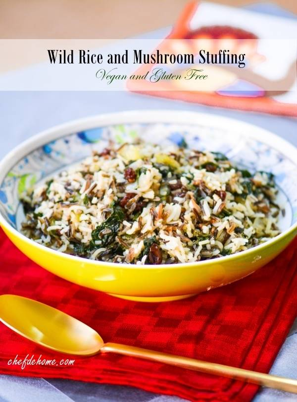 Wild Rice, Kale and Mushroom Stuffing - Vegan and Gluten Free