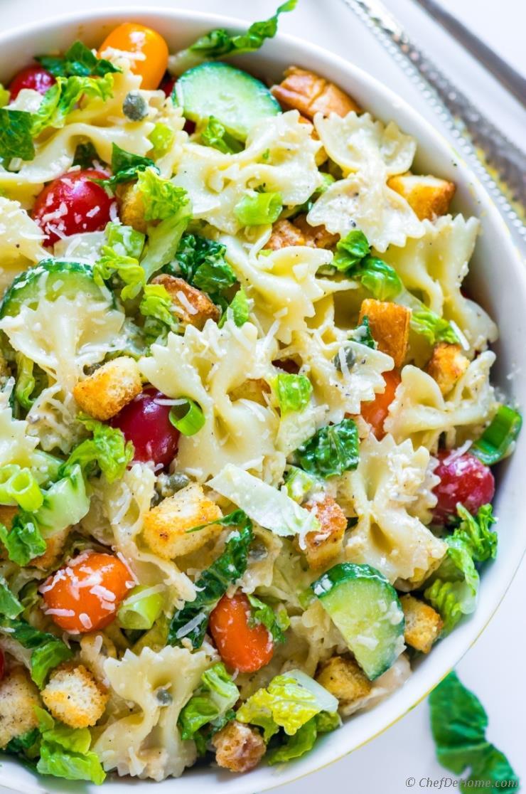 Caesar Pasta Salad Recipe Chefdehome Com