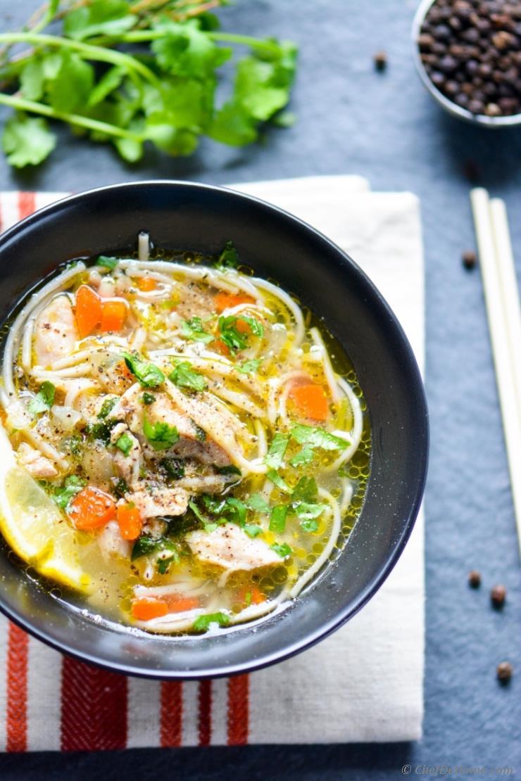Chicken Noodle Soup in Pressure Cooker Recipe | ChefDeHome.com