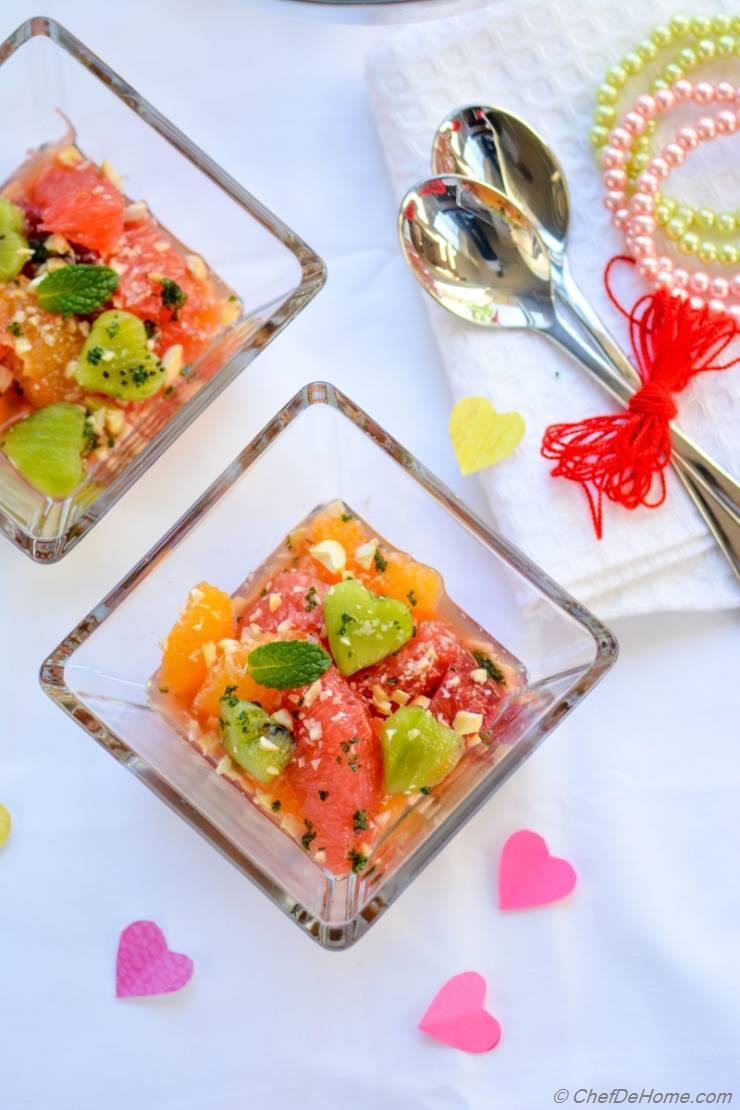 Citrus Kiwi Fruit Salad with Pistachio Minted Sugar