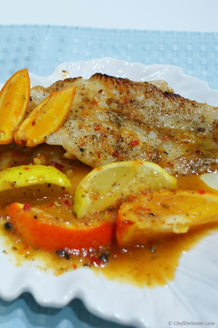 Pan seared cod fillets with citrus sauce recipe for Recipes with fish sauce