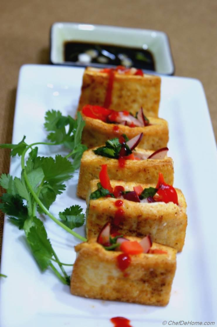 Crispy Tofu Snack Pockets with Crunchy Vegetables Filling