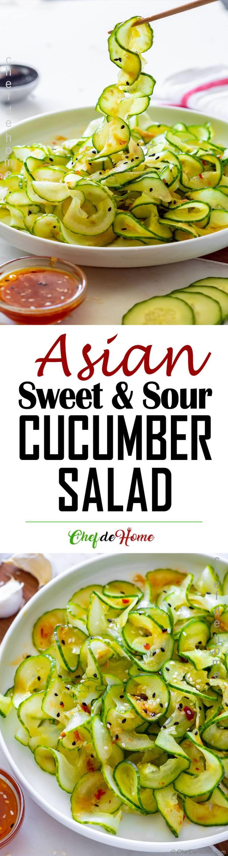 Asian Cucumber Salad vinegar dressing makes sweet and sour salad