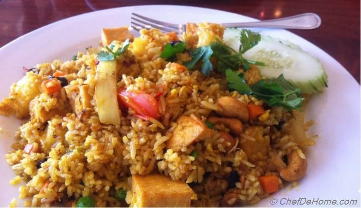 Pineapple Tofu Curry Fried Rice