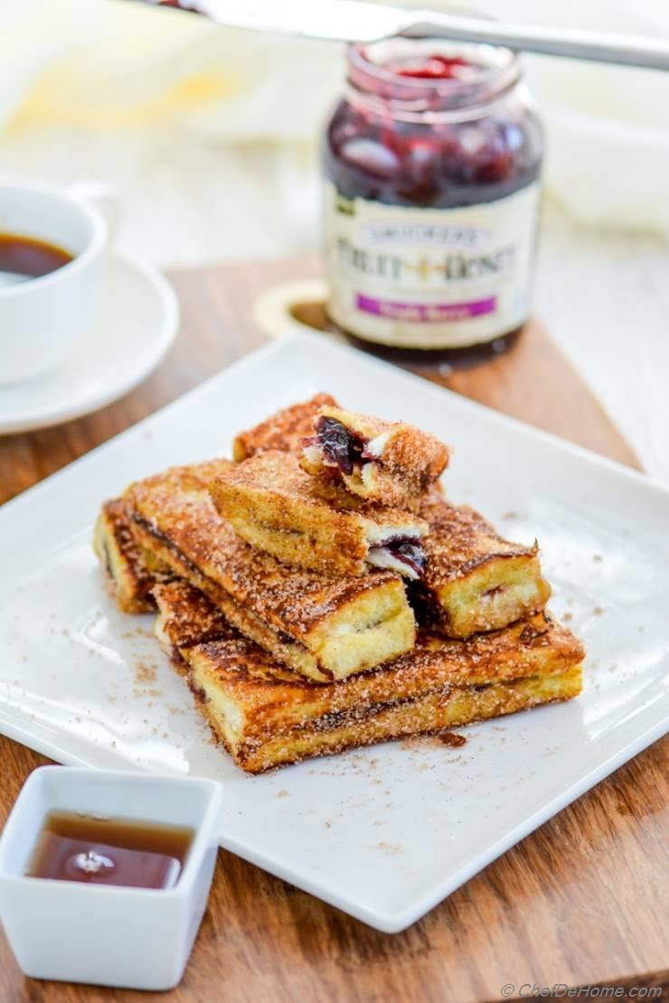 Fruit Spread Stuffed French Toast Sticks