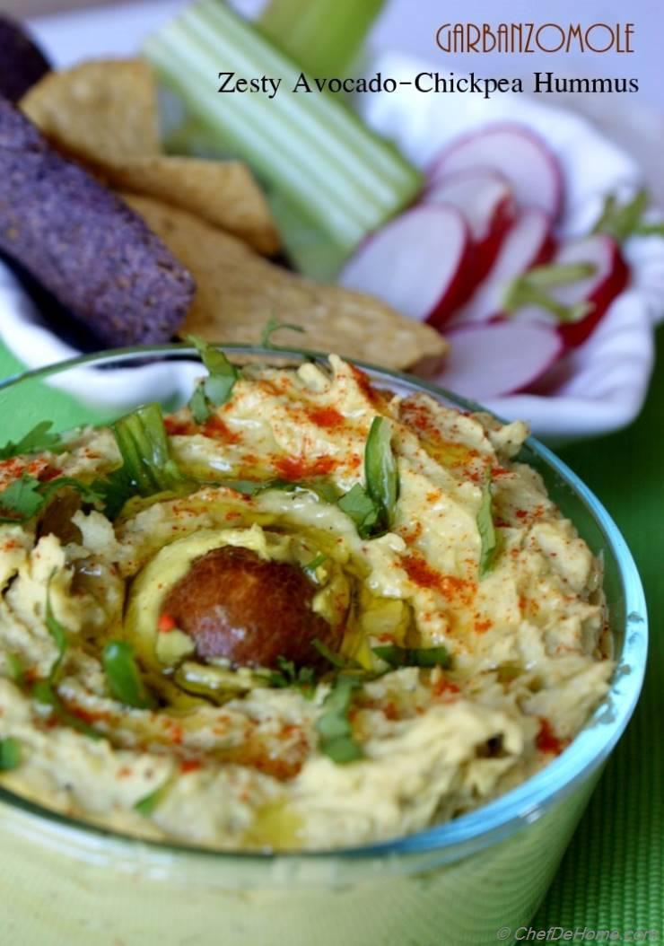 Zesty Avocado and Chickpea Hummus - Garbanzo-mole